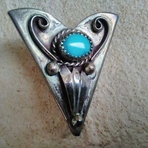 Vintage silver collar tips with Turquoise